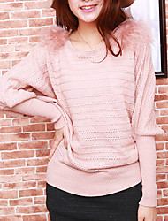 Folli Lovely Round Collar Bat Sleeve Knit Shirt With Shoulder Pad