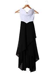 Mulheres sexy vestido cai-cai Strapless Chiffon Asymmetric cocktail vestido de noite