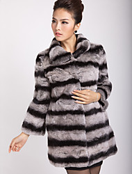 Genuine manga comprida abertura Collar Rex Rabbit Fur Coat