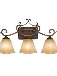 Lámpara de pared, 3 luz, Pintura clásica Hierro Resina Vidrio