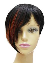 Rihanna Hairstyle Hand-tied 100% Real Human Hair Short Mixed Color Straight Celebrity Wigs