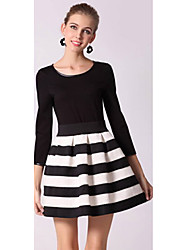 Slim Waist Black And White Striped Women Long-Sleeved Dress