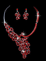 Red Crystal Peacock marriage suit ear clip earrings necklace