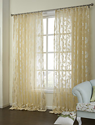 Country Two Panels Floral  Botanical Yellow Bedroom Poly  Cotton Blend Sheer Curtains Shades