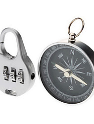 Stainless Steel Compass with 3-Digit Padlock Set