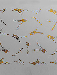 1PCS Golden Zipper Pattern Water Transfer Printing Colorful Nail Sticker