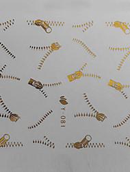 1PCS Золотой молнии Pattern печатание перехода воды Красочный ногтей наклейки