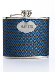 Personalized Gift Woven Pattern Blue 5oz PU Leather Capital Letters Flask