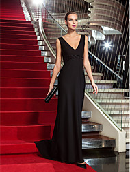 Sheath / Column V-neck Sweep / Brush Train Jersey Formal Evening Military Ball Dress with Beading by TS Couture®