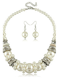 European Exaggerate Pearl Necklace & Earrings Jewelry Set