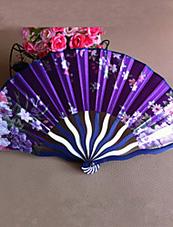 Floral Polypropylene Fiber Hand Fan - Set of 4 (Random Color)