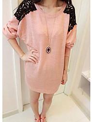 XD Nieuw zoete kant splicing Breien met lange mouwen T-shirt (roze)