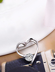 925 Silver Heart Shaped Avec Simple Ziron Pendentif