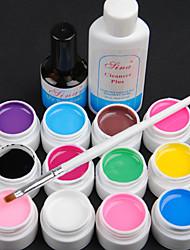 15PCS 12 Couleur 8ML Transparent Pure Color Gel UV Nail Art Set B