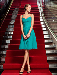 Sheath/Column Spaghetti Straps Knee-length Chiffon Cocktail Dress (742554)
