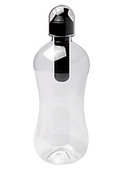380ML Outdoor Sports Black Portable Manual PE Filtered Water Bottle