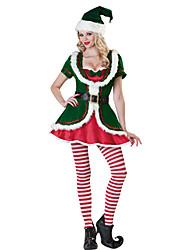 5 Pezzi Cute Girl velluto verde Costume di Natale