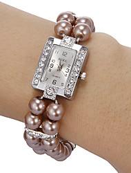 Femme Montre Tendance Bracelet de Montre Montre Diamant Simulation Quartz Imitation de diamant Bande Perles Blanc Blanc Lilas