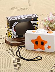Orange On White Background Film Wedding Camera With Star