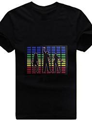 Стильный Музыка Звук активированного светодиодной T-Shirt Красочные полосы эквалайзера проблесковый маячок
