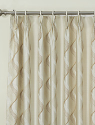 (Two Panels) Graceful Rococo Paisley Beige Jacquard Energy Saving Curtain