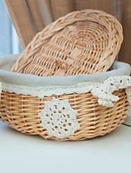 Rotondo classico Lidded Bamboo Basket archiviazione