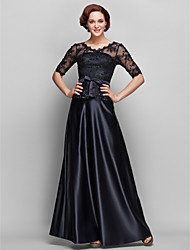 A-line Plus Sizes / Petite Mother of the Bride Dress - Black Floor-length Half Sleeve Satin / Lace