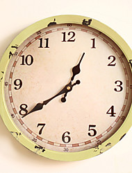 "12 ""h style rétro jaune vif horloge murale mentale"