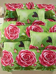 Bettbezug-Set, 4-teilig Pink Rose Printed in Grass in voller Größe