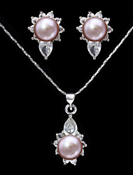 Gorgeous Alloy Silver Rhinestone Immitation Pearl Bridal Jewelry Set(Necklace,Earrings)(More Colors)