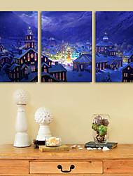 Stretched Canvas Print Art Village in Christmas Set of 3