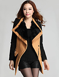 LuoWeiQiGuLi Fashion Slim Hit Color One Button Tweed Coat(Camel)