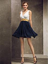 Short/Mini Georgette Bridesmaid Dress - Multi-color Plus Sizes / Petite A-line V-neck