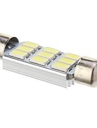 Festoon 3W 210LM 6000K 9x5730SMD Cool White Light Bulb LED para carro (DC 12V, 41mm, 1pcs)