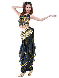 Belly Dance Outfits Women's Performance / Training Chiffon Beading / Coins / Sequins 2 Pieces Sleeveless Natural Top / Pants
