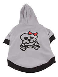 Dog Coat / Hoodie Gray Winter Skulls / Bowknot