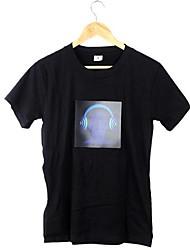Attactive музыка Активированный DJ мигающий Красочный эквалайзер электронные светодиодные футболка
