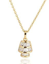 Yueli Женская Белый 18K Золото Циркон Подвеска вкл. Ожерелье D0421