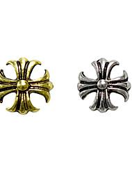 10PCS Bronze Golden&Silver Retro Chrome Hearts Nail Art Decorations(Type A,Assorted Colors)