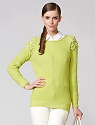 Damen Rundhals Langarm-Pullover Schlank