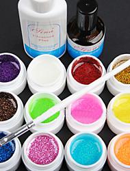 15PCS 12 Couleur 8ML Poudre Glitter Gel UV Couleur Nail Art Set D