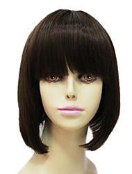 100% Human Remy Hair Wig Short Black Straight Bob Hair Capless Wig