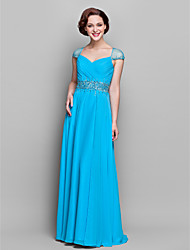 Formal Evening / Military Ball / Wedding Party Dress Sheath / Column V-neck Floor-length Chiffon with Beading / Criss Cross / Ruching