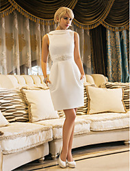 LAN TING BRIDE Sheath / Column Wedding Dress - Chic & Modern Reception Vintage Inspired Open Back Little White Dress Knee-length Jewel