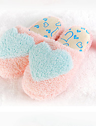 Guosheng Heart Pattern Soft Cotton Slippers(Blue)(36/37=37,38/39=39,40/41=41)