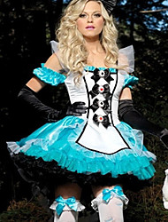 Deluxe Alice and Bunny White and Blue Satin Dress Women's Costume