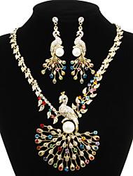 Charme liga banhado a prata com jóias clara Rhinestone nupcial Set (colares, brincos)