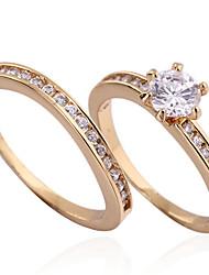 Yueli Frauen-18K Gold Zirkon Ring J0032