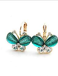 MISS U Women's Green Crystal Butterfly Earrings