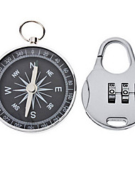 Stainless Steel Compass and 3-Digit Padlock Set